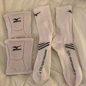 White Mizuno Socks and Kneepads